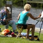 Sommerakademie Worpswede, Fotokurse, Fotoworkshops, Malreisen, Malkurse, Sommer, warm, malen am Wasser, Staffelei am Wasser, Atelier, Staffelei